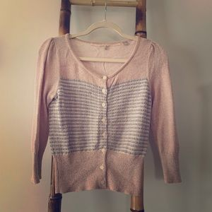 Anthropologie Cardigan Pink & Gold Threads Small
